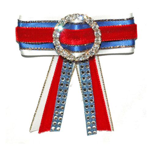 Red, royal, white bow